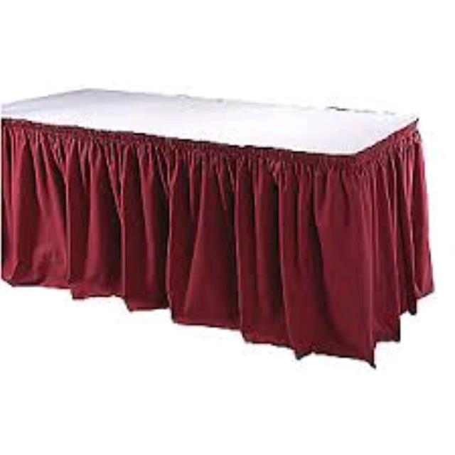 Where to find TABLE SKIRT, BURGUNDY EXPO in Duluth
